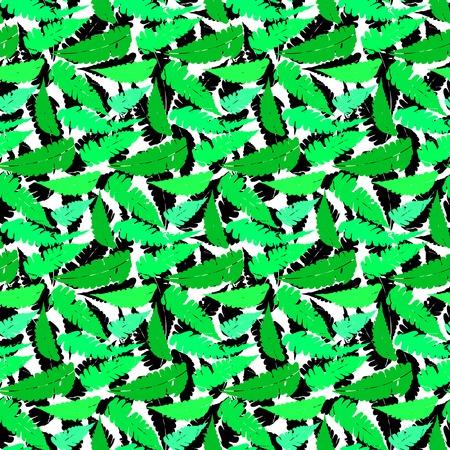 Grunge autumn pattern with fern leafs Illustration
