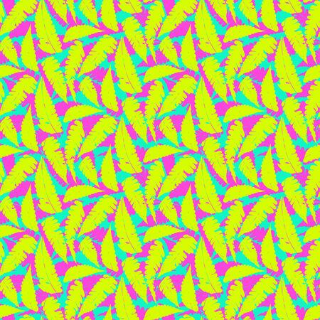 monstera leaf: Grunge summer pattern with fern leafs Illustration
