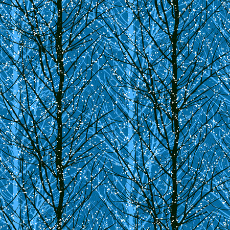 fabric art: Pattern with trees silhouettes