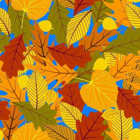 秋のシームレスな背景の葉を持つ  イラスト・ベクター素材