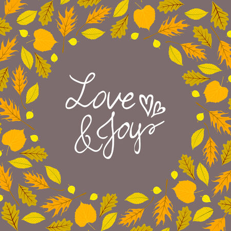 oak wreath: Vector background with autumn decor