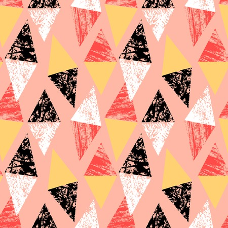Grunge hand painted pattern with triangles Vector