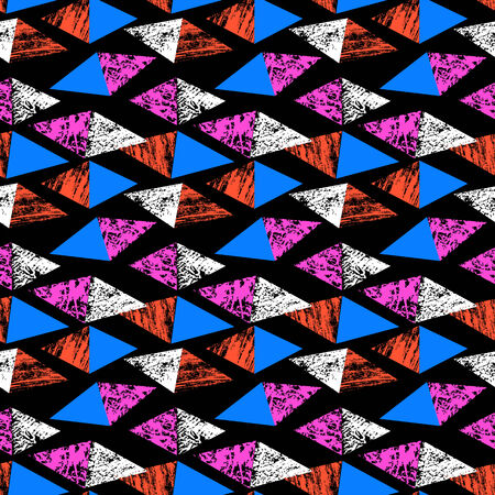 Grunge hand painted pattern with triangles