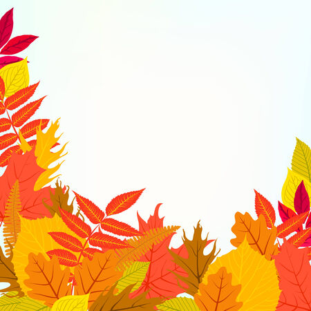 ash tree: card with autumn decor and leafs Illustration