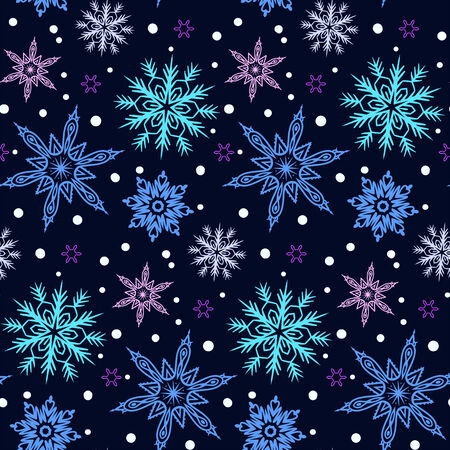 christmas motif: Winter pattern with various falling snowflakes Illustration