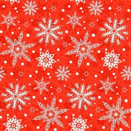 Winter pattern with various falling snowflakes Ilustrace