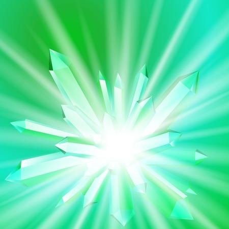 Vector illustratie van een kristal met stralen Stock Illustratie