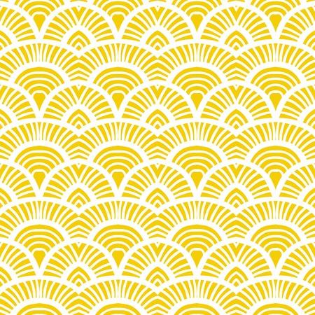 noix saint jacques: Motif art déco dessiné à main vintage Illustration