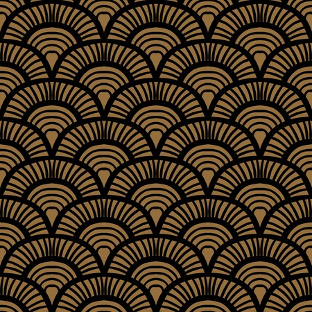 japanese style: Vintage hand drawn art deco pattern