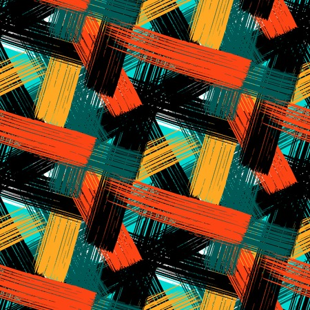Vector seamless bold plaid pattern with wide brushstrokes and thin stripes hand painted in bright multiple variety of colors  for fall winter retro fashion