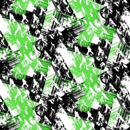 brushstrokes: Grunge hand painted abstract pattern with bold textured brushstrokes in bold colors, black, green, white. Seamless vector for winter fall fashion