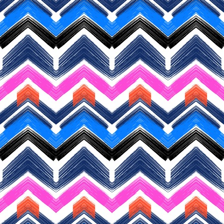 bright: Multicolor hand drawn pattern with brushed zigzag lines. Vector seamless bold print with chevron ornament painted with brushstrokes in various bright colors nautical blue, pink, orange, white, black