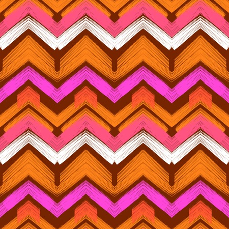 hand painted: Multicolor hand drawn pattern with brushed zigzag lines. Vector seamless bold print with chevron ornament hand painted with brushstrokes in various bright colors brown, orange, pink, white