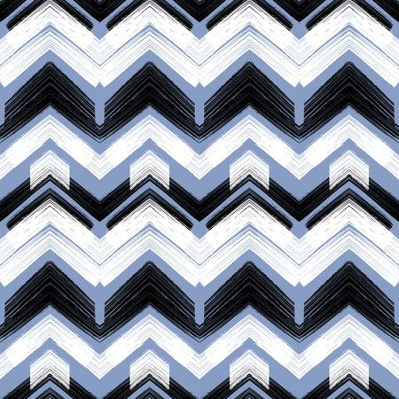 hand painted: Hand drawn pattern with brushed zigzag lines. Vector seamless bold print with chevron ornament hand painted with brushstrokes in black and white colors