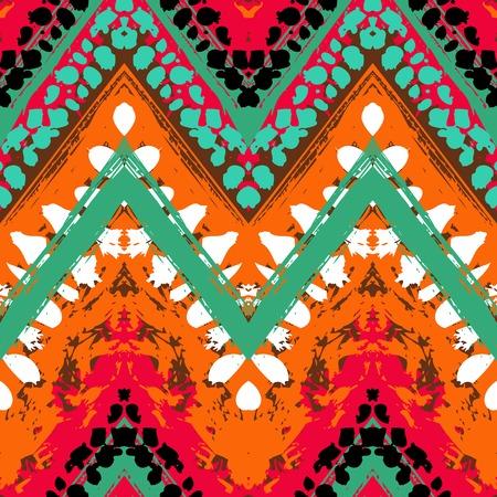 縞模様の手塗りの民族とのシームレスなパターンをベクトルと部族のモチーフ、ジグザグ線、筆、夏の複数の明るい色の塗料の splatters 秋ファッショ