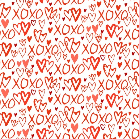 xoxo: Grunge vector seamless pattern with hand painted hearts and words xoxo. Bright red small print for valentines day wrapping paper decor or wedding invitation card background