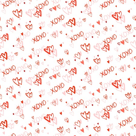 xoxo: Grunge vector seamless pattern with hand painted hearts and letters xoxo. Bright red small print for valentines day wrapping paper decor or wedding invitation card background