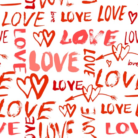 bright: Grunge vector seamless pattern with hand painted hearts and words love. Bright red bold print for valentines day wrapping paper decor or wedding invitation card background