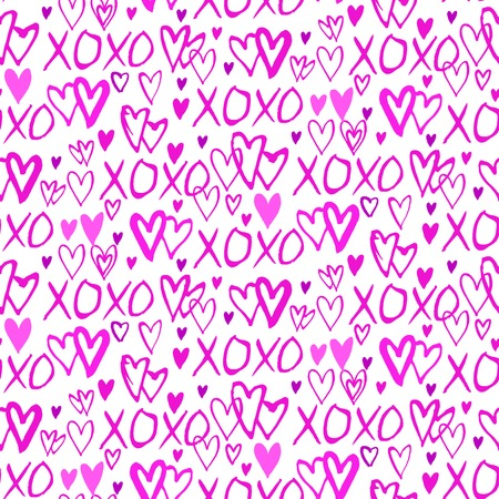 xoxo: Grunge vector seamless pattern with hand painted hearts and words xoxo. Bright pink bold print for valentines day decor or wedding invitation card background Illustration