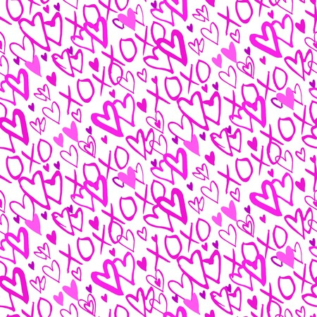 xoxo: Grunge vector seamless pattern with hand painted hearts and words xoxo. Bright pink bold print for valentines day wrapping paper or wedding invitation card background