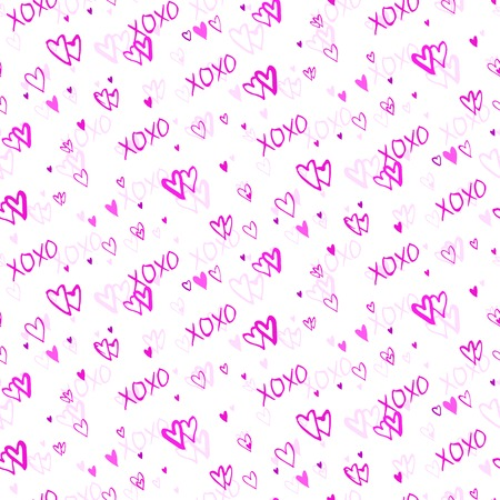xoxo: Grunge vector seamless pattern with hand painted hearts and words love. Bright pink ditsy print for valentines day wrapping paper decor or wedding invitation card background Illustration