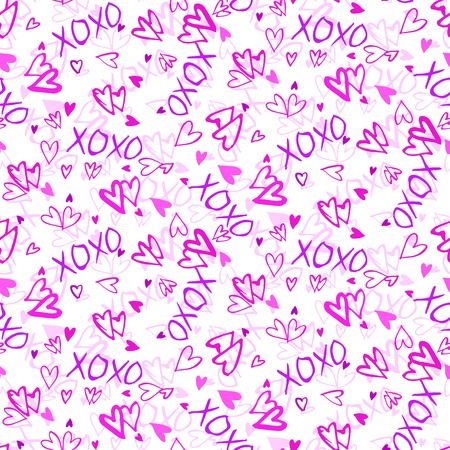 xoxo: Grunge vector seamless pattern with hand painted hearts and words love. Bright pink ditsy print for valentines day wrapping paper or wedding invitation card background