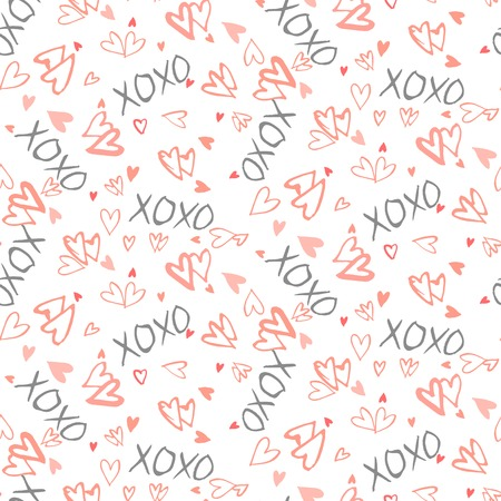 xoxo: Grunge vector seamless pattern with hand painted hearts and words xoxo. Bright fun ditsy print for valentines day wrapping paper decor or wedding invitation card background