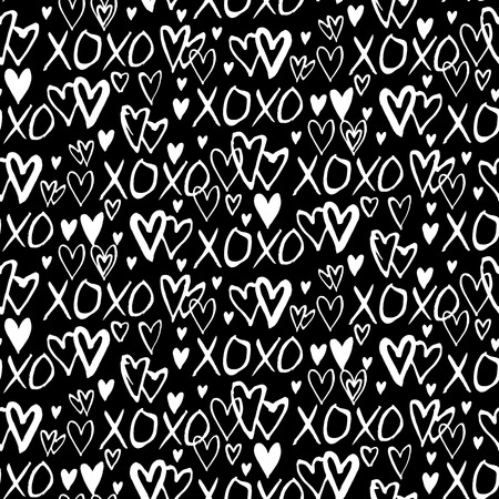 xoxo: Grunge vector seamless pattern with hand painted hearts and words xoxo. Ditsy print for valentines day wrapping paper decor or wedding invitation card background in black and white colors