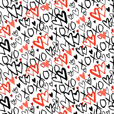xoxo: Grunge vector seamless pattern with hand painted hearts and words xoxo. Bright bold print for valentines day wrapping paper decor or wedding invitation card background in white, black and red colors Illustration