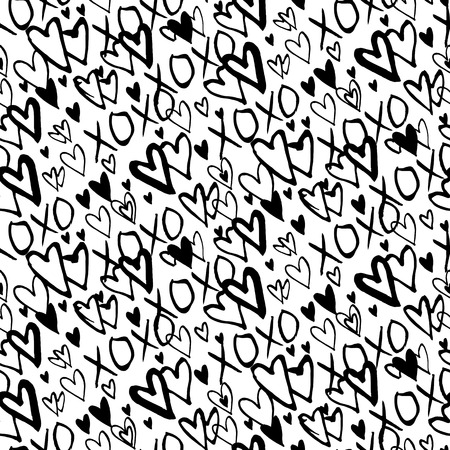 xoxo: Grunge vector seamless pattern with hand painted hearts and words xoxo. Bright ditsy print for valentines day wrapping paper decor or wedding invitation card background in black and white colors
