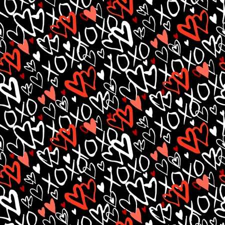 xoxo: Grunge vector seamless pattern with hand painted hearts and words xoxo. Bright bold print for valentines day wrapping paper decor or wedding invitation card background in black, red and white colors