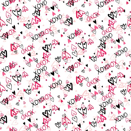 xoxo: Grunge vector seamless pattern with hand painted hearts and words xoxo. Bright ditsy print for valentines day wrapping paper decor or wedding invitation card background in white, black and pink colors