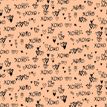 xoxo: Grunge vector seamless pattern with hand painted hearts and words xoxo. Ditsy print for valentines day wrapping paper decor or wedding invitation card background in black and organic beige colors