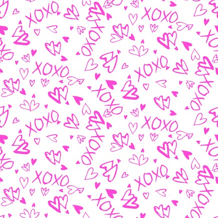 xoxo: Grunge vector seamless pattern with hand painted hearts and words xoxo. Bright ditsy print for valentines day wrapping paper decor or wedding invitation card background in pink and white colors