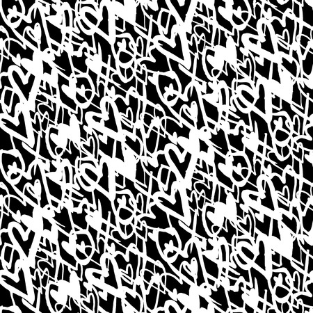 xoxo: Grunge vector seamless pattern with hand painted hearts and words xoxo. Bright bold print for valentines day wrapping paper decor or wedding invitation card background in black and white colors