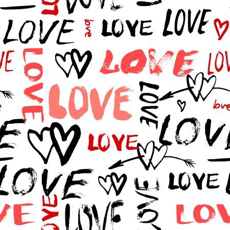 Grunge vector naadloze patroon met de hand beschilderde harten en woorden liefde. Heldere gewaagde druk voor Valentijnsdag inpakpapier of bruiloft uitnodiging kaart achtergrond in het rood, zwart en witte kleuren Stock Illustratie