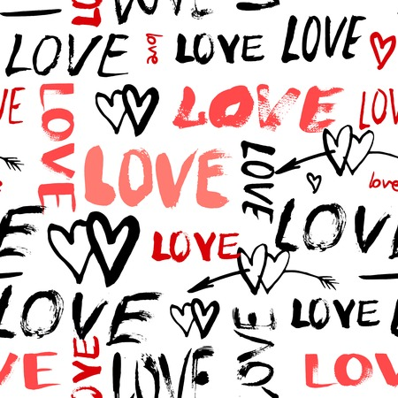 Grunge vector seamless pattern with hand painted hearts and words love. Bright bold print for valentines day wrapping paper or wedding invitation card background in red, black and white colors