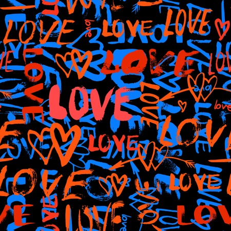 random: Grunge vector seamless pattern with hand painted hearts and words love. Bright bold print for valentines day wrapping paper or wedding invitation card background in red, black and blue colors