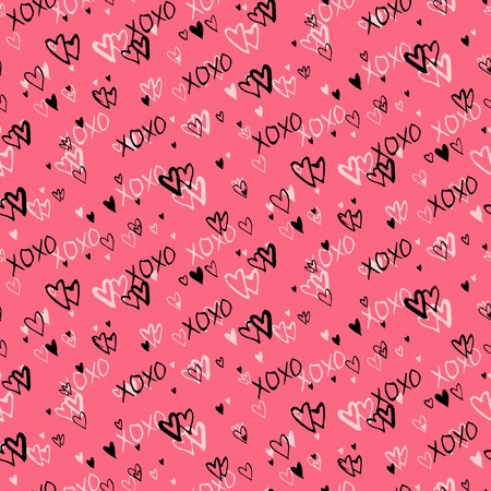 xoxo: Grunge vector seamless pattern with hand painted hearts and letters love. Bright pink ditsy print for valentines day wrapping paper decor or wedding invitation card background