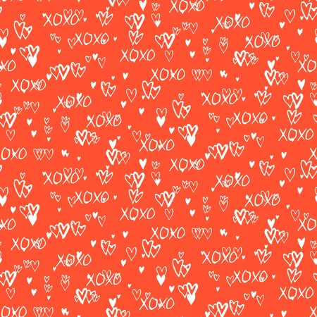 xoxo: Grunge vector seamless pattern with hand painted hearts and words love. Bright red ditsy print for valentines day wrapping paper decor or wedding invitation card background Illustration