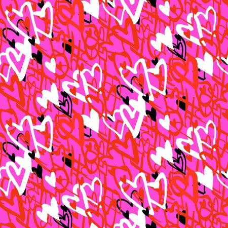 rosa negra: Grunge vector sin patr�n con corazones pintados a mano y palabras xoxo. Negrita brillante para el d�a de San Valent�n papel de regalo o tarjeta de invitaci�n de la boda de fondo en colores rojo, rosa, blanco y negro