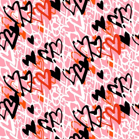 xoxo: Grunge vector seamless pattern with hand painted hearts and words xoxo. Bright bold print for valentines day wrapping paper or wedding invitation card background in red, pink, black and white colors Illustration