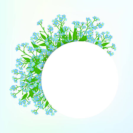 romantic: Vector card with small blue flowers on shining sky blue background. Template for garden store coupon, flower shop gift card, soap package, spring sale ad, baby shower or wedding invitation