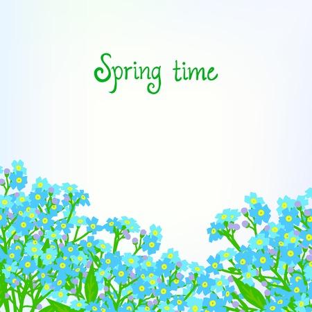shining light: Tarjeta del vector con peque�as flores de color azul sobre fondo brillante luz. Plantilla para la tienda de jardiner�a cup�n, flor tarjeta de tienda de regalos, paquete de jab�n, venta de primavera anuncio, baby shower o invitaci�n de la boda Vectores