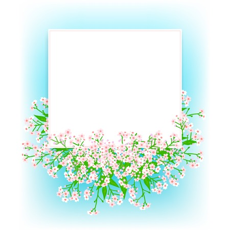 garden party: Vector card with small pink flowers Illustration
