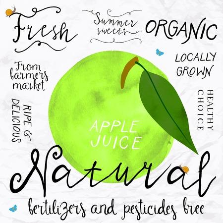 fresh juice: watercolor apple