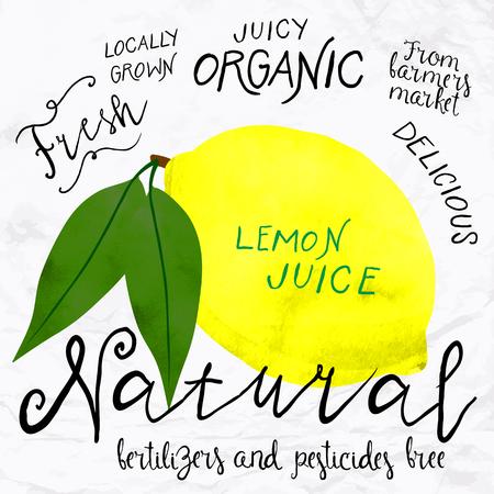 food market: watercolor lemon