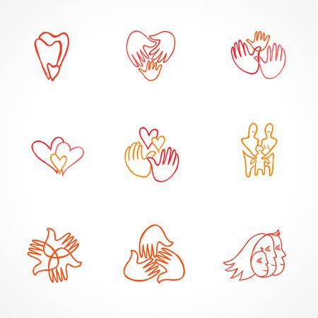 manos logo: conjunto de familia