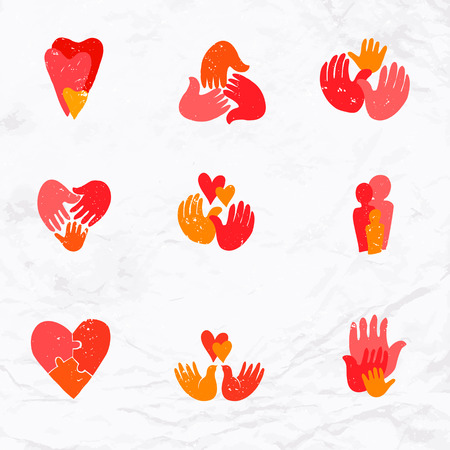 hand tree: set of family logos Illustration