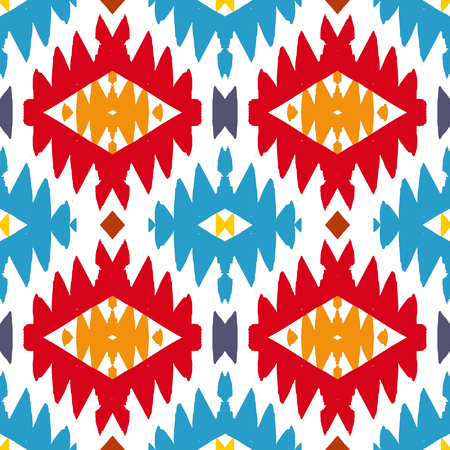 mayan: Vector seamless ethnic pattern with american indian motifs in multiple colors. Colorful aztec background. Textile print with navajo tribal ornament. Native american art. Illustration